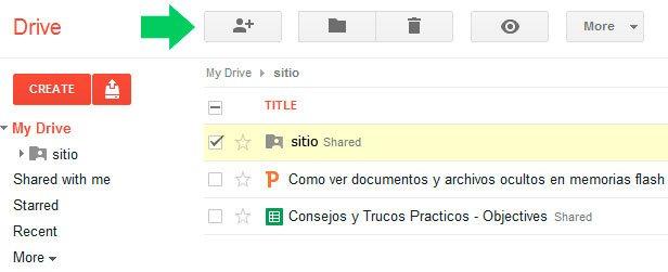 Compartir una carpeta en Google Drive
