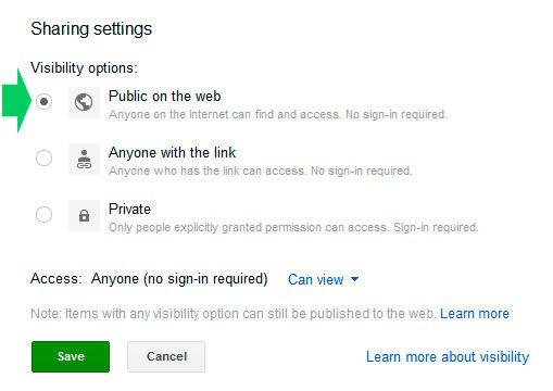 Hacer pública una carpeta en Google Drive
