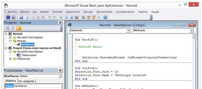 Ventana del editor de Visual Basic en Word
