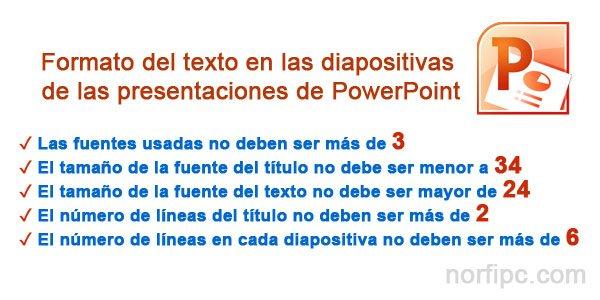 Formato del texto en las diapositivas de las presentaciones de PowerPoint