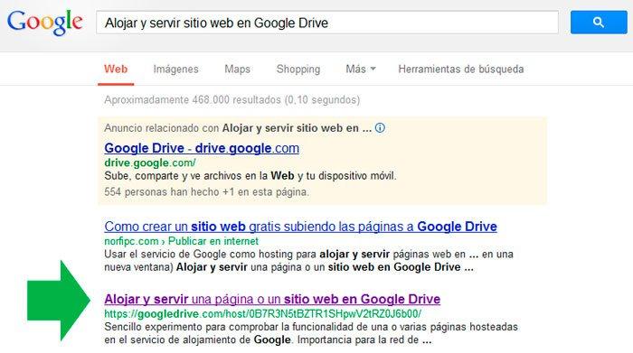 Resultados en la búsqueda de Google de una página web alojada en Google Drive.