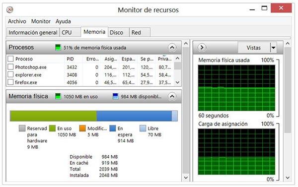Usar el Monitor de recursos para comprobar el uso de la memoria en Windows