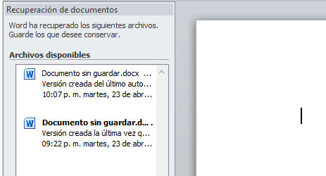 Recuperacion automatica de documentos de Word