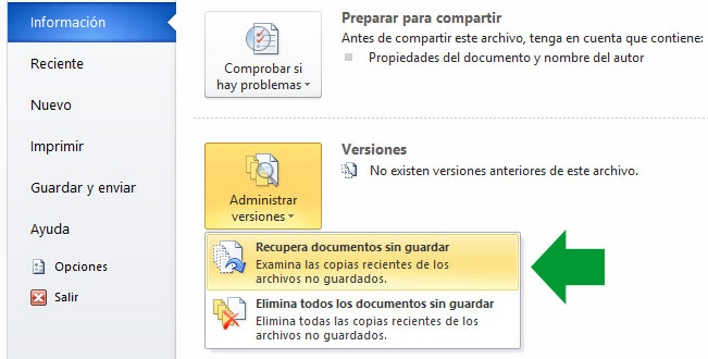 Recuperar documentos modificados sin guardar desde Word