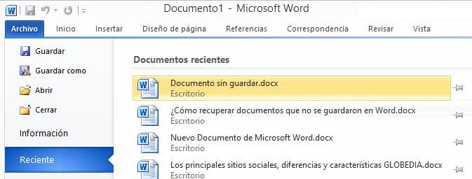 Recuperar documentos nuevos sin guardar desde Word