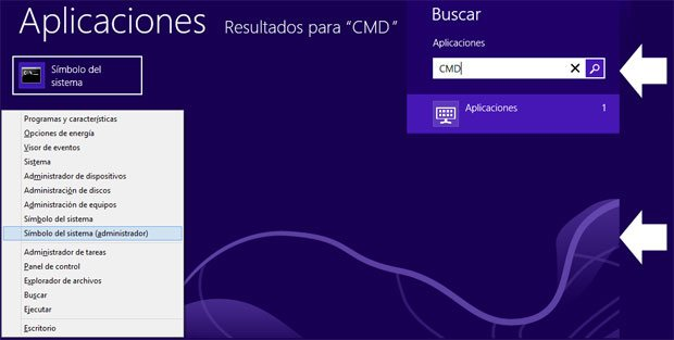 Dos formas de abrir la consola de CMD en Windows 8