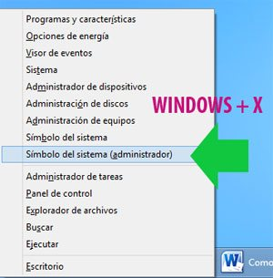 Abrir la consola de CMD en Windows 8 con privilegios de administrador