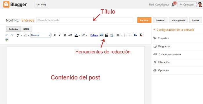 Vista del editor WYSIWYG de Blogger en un navegador web