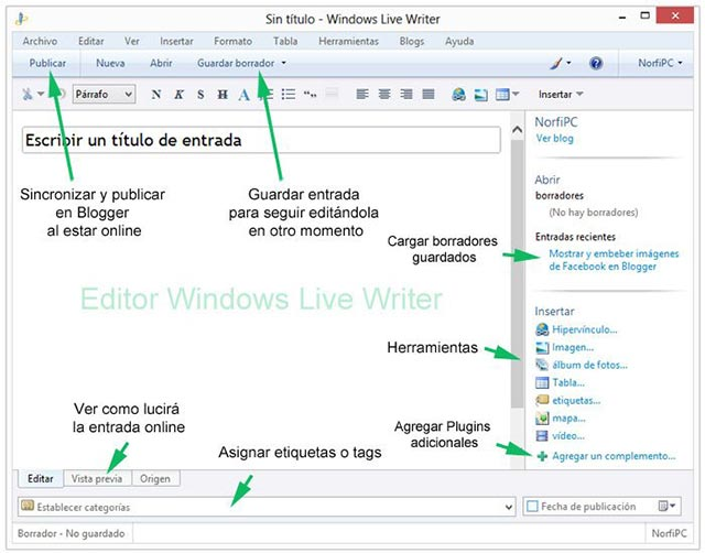Editor Windows Live Writer para crear offline las entradas de un blog en Blogger