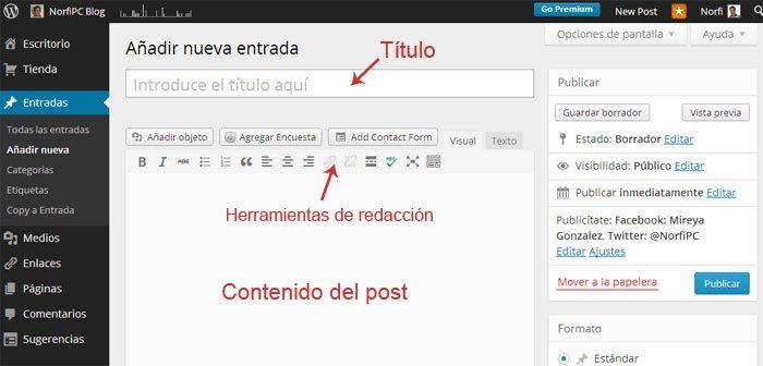 Vista del editor WYSIWYG de WordPress en un navegador web