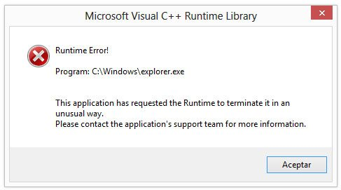 Ventana de error de Microsoft Visual C++ en el explorador de Windows