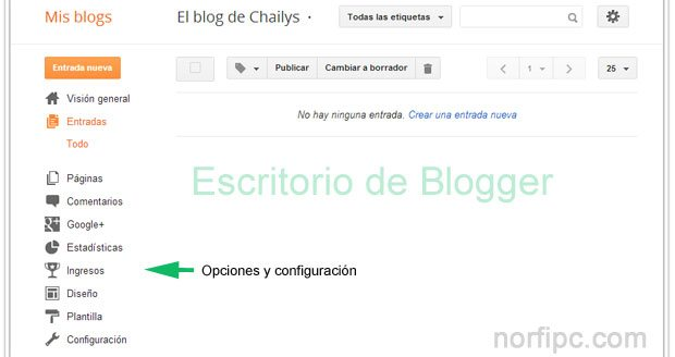 Dashboard o Escritorio de Blogger