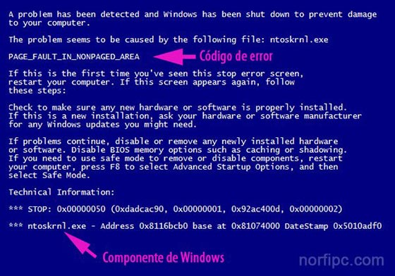 Pantalla azul de error con el código PAGE_FAULT_IN_NONPAGED_AREA en Windows