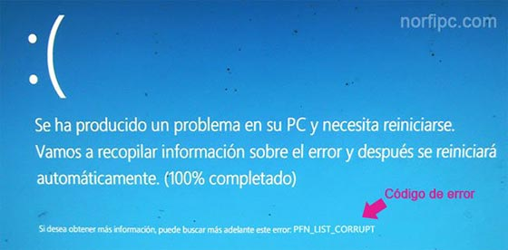 Pantalla azul de error con el código PFN_LIST_CORRUPT en Windows 8