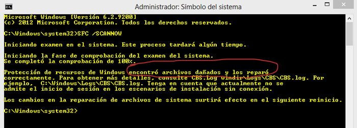 Resultado final de la reparacion de archivos de Windows con SFC