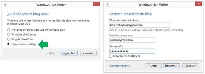 Agregar una cuenta de un blog a Windows Live Writer