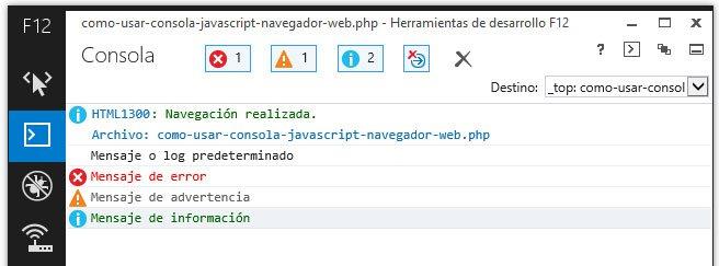 Distintos tipos de logs o mensajes en la consola del navegador
