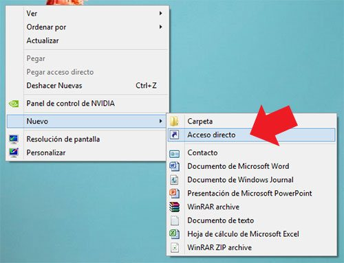 Crear acceso directo en el escritorio de Windows