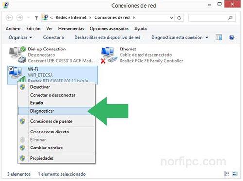 Diagnosticar y reiniciar la conexión Wi-Fi con el asistente de Windows