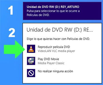 Reproducir un disco de DVD de forma automática en Windows 8 con VLC