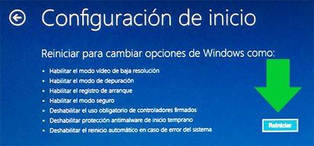Panel de reiniciar para cambiar opciones de inicio en Windows 8