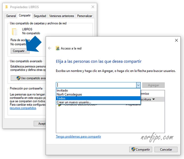 Compartir una carpeta en Windows