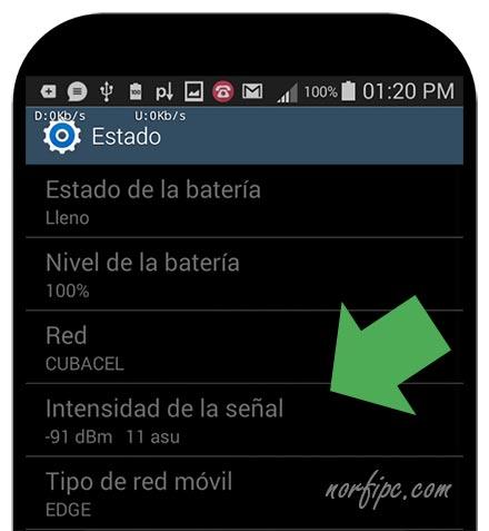 Intensidad de la seal mvil en un telfono con Android