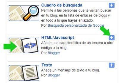 Agregar gadget HTML a un blog de Blogger