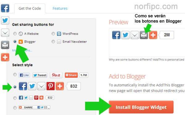 Usar los botones del servicio AddThis en un blog de Blogger