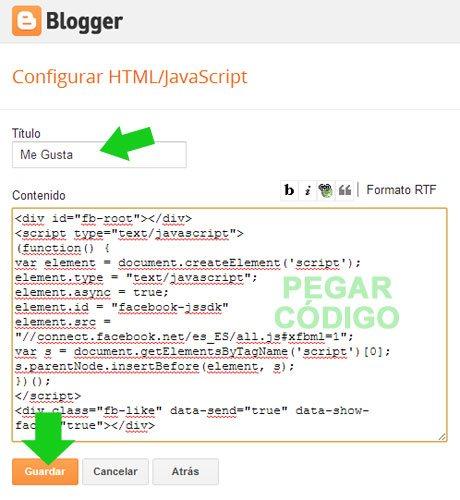 Ventana de insertar el código para un gadget en Blogger