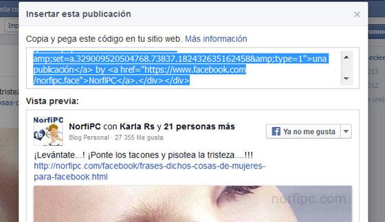 Código para insertar la publicación en un blog o página web