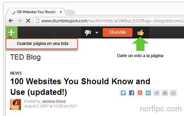 Explorar, conocer y votar páginas web en la red social Stumbleupon