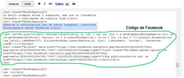 Código de Facebook insertado en un post de Blogger