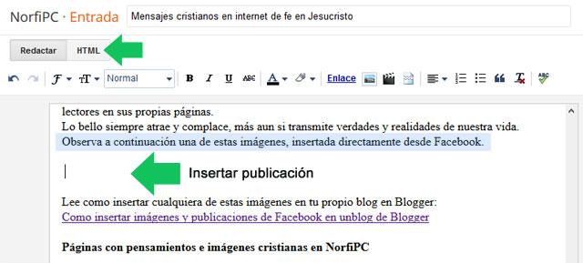 Escoger en el editor de Blogger el lugar donde insertar una publicación de Facebook