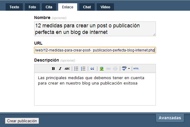 Compartir una página web o un post de un blog en Tumblr