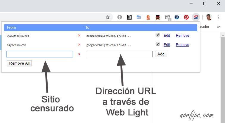 Configurar la extension Switcheroo Redirector para hacer redirección en Chrome