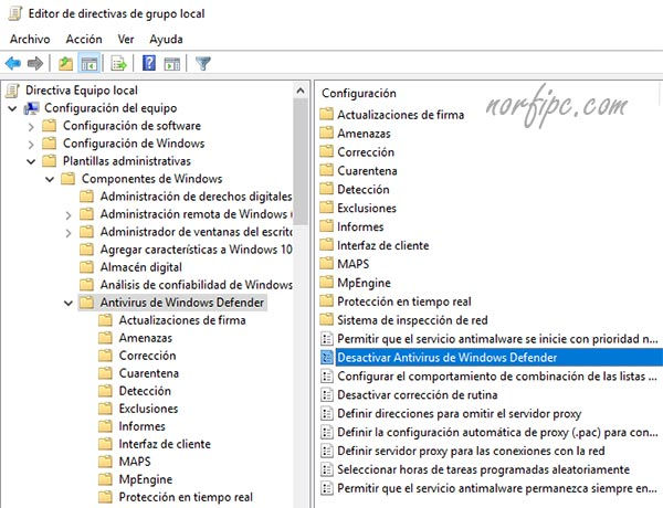 Detener Windows Defender con el Editor de directivas