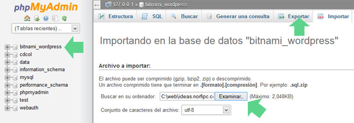 Importar base de datos de WordPress