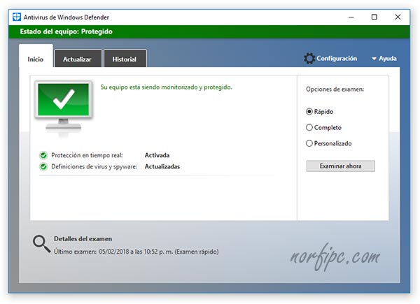Panel de Windows Defender actualizado