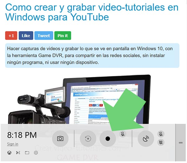 Controles de la barra de Game DVR en Windows 10