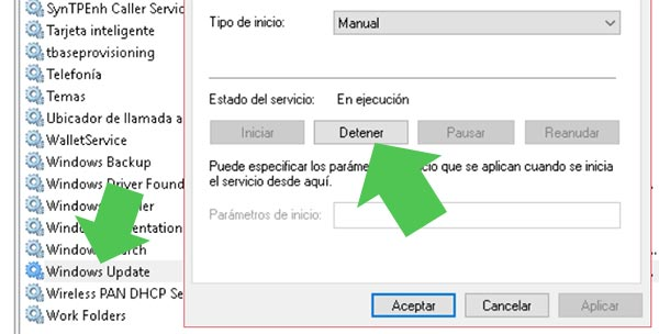 Detener el servicio de Windows Update en Windows 10