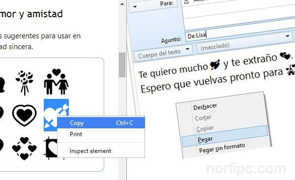 Copiar y pegar los emoticonos Emoji en un sms de email