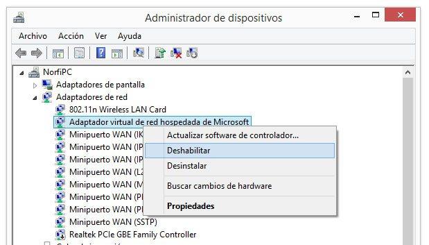 Deshabilitar la red ad hoc en el Administrador de dispositivos