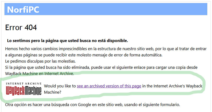 Página de Error 404 con un enlace a la copia de la página solicitada en Wayback Machine