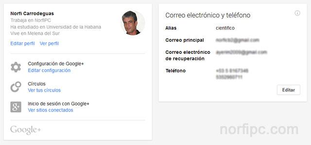 Panel de Configuración de mi cuenta de Google