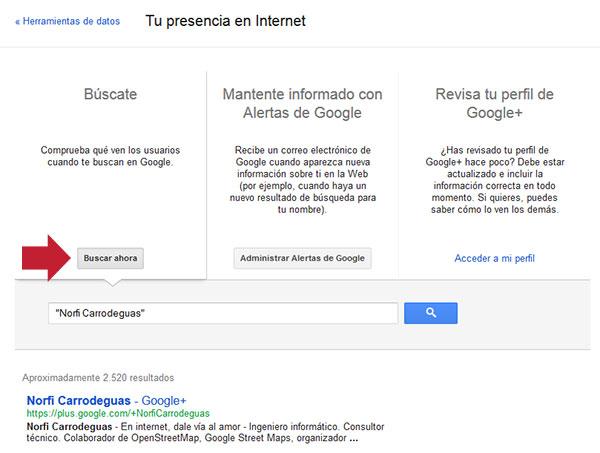 Panel de Google para conocer que aparece sobre mi en internet