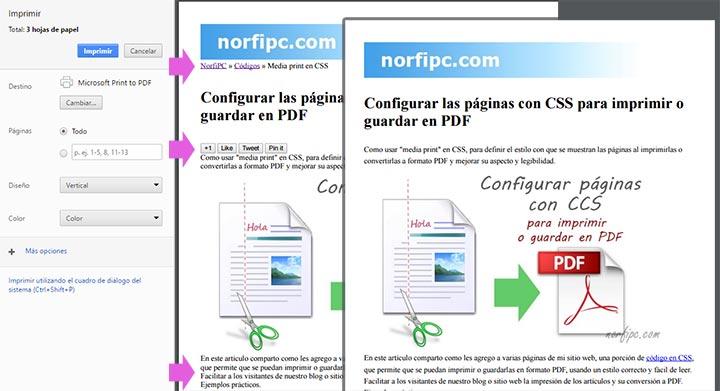 Configurar las páginas con CSS para imprimir o guardar en PDF