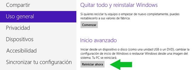 Activar el modo de inicio avanzado en Windows 8