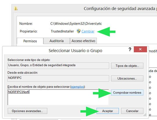 Cambiar los permisos en Windows 8