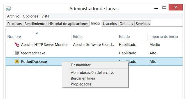 Deshabilitar o eliminar programas del inicio en Windows 8